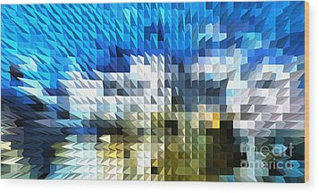 Abstract Illusion Elements Water #4 Wood Print by Ginette Callaway
