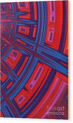 Abstract In Red And Blue Wood Print by John Edwards