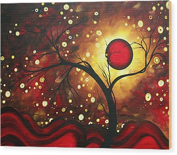 Abstract Landscape Glowing Orb By Madart Wood Print by Megan Duncanson