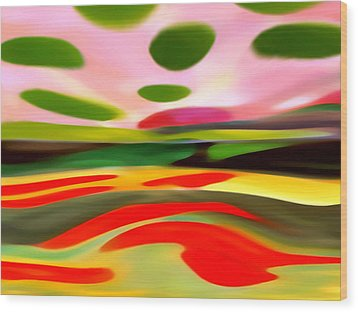 Abstract Landscape Of Happiness Wood Print by Amy Vangsgard