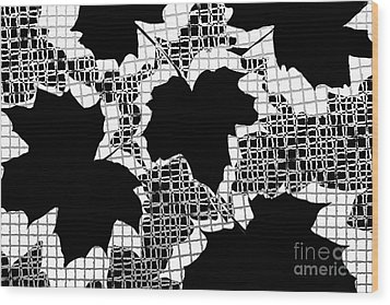 Abstract Leaf Pattern - Black White Grey Wood Print by Natalie Kinnear