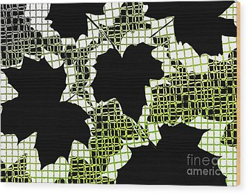 Abstract Leaf Pattern - Black White Lime Green Wood Print by Natalie Kinnear