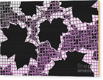 Abstract Leaf Pattern - Black White Pink Wood Print by Natalie Kinnear