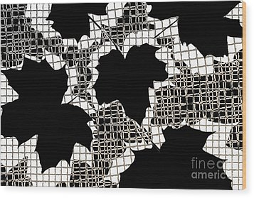 Abstract Leaf Pattern - Black White Sepia Wood Print by Natalie Kinnear