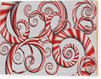 Abstract - Spirals - Peppermint Dreams Wood Print by Mike Savad