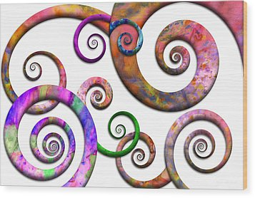 Abstract - Spirals - Planet X Wood Print by Mike Savad