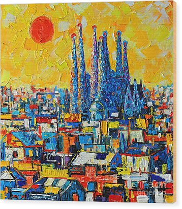 Abstract Sunset Over Sagrada Familia In Barcelona Wood Print by Ana Maria Edulescu