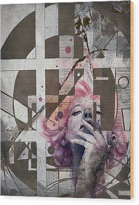 Abstract Woman 001 Wood Print by Corporate Art Task Force