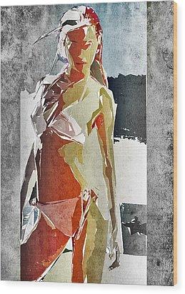 Abstract Woman Wood Print by David Ridley
