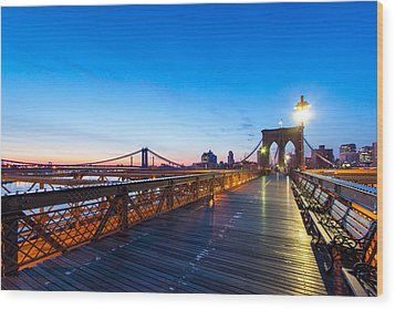Across The Bridge Wood Print by Daniel Chen