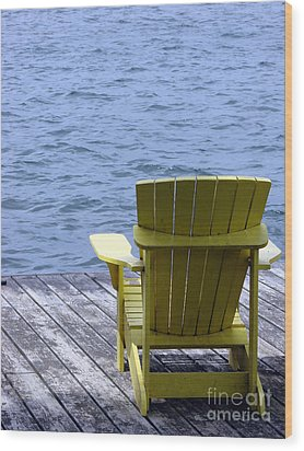 Adirondack Chair On Dock Wood Print by Olivier Le Queinec