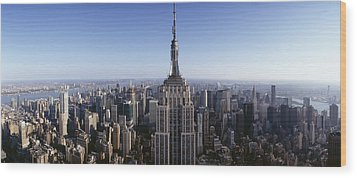 Aerial View Of A Cityscape, Empire Wood Print by Panoramic Images