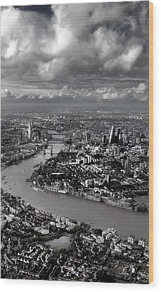 Aerial View Of London 4 Wood Print by Mark Rogan