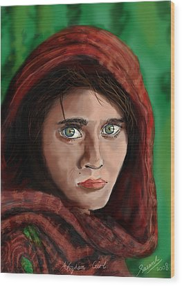 Afghan Girl Wood Print by Sasank Gopinathan