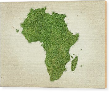 Africa Grass Map Wood Print by Aged Pixel