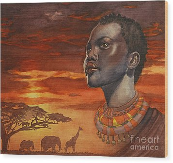 African Dream Wood Print by Isabella Kung
