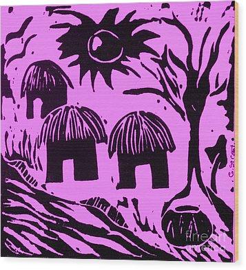 African Huts Pink Wood Print by Caroline Street