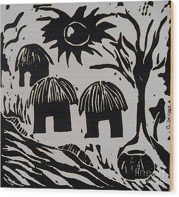 African Huts White Wood Print by Caroline Street