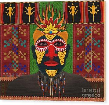 African Tribesman 1 Wood Print by Bedros Awak