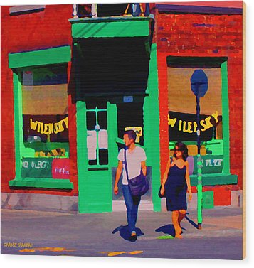 After Lunch At Wilenskys Restaurant Crossing Fairmount Montreal Street Scene Art Carole Spandau Wood Print by Carole Spandau