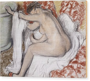 After The Bath Woman Drying Herself Wood Print by Edgar Degas