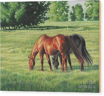 Afternoon Graze Wood Print by Carrie L Lewis