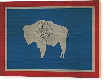 Aged Wyoming State Flag Wood Print by Dan Sproul