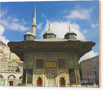 Ahmet II Fountain Next To Topkapi Palace Main Entry With A Minaret Of Hagia Sophia Palace Istanbul  Wood Print by Ralph A  Ledergerber-Photography