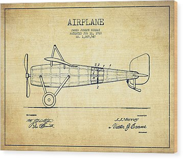Airplane Patent Drawing From 1918 - Vintage Wood Print by Aged Pixel