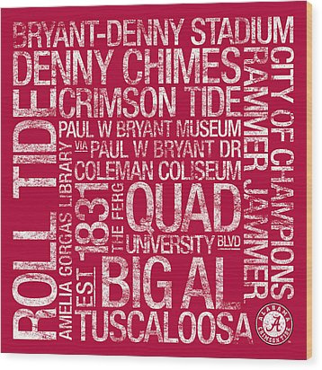 Alabama College Colors Subway Art Wood Print by Replay Photos