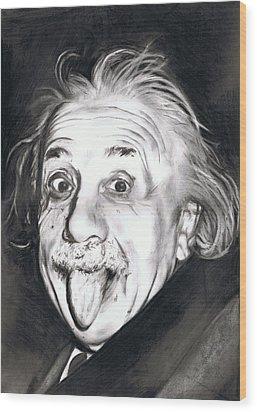 Albert Einstein Wood Print by Shane Cunningham