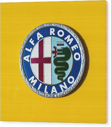 Alfa Romeo Emblem Wood Print by Jill Reger