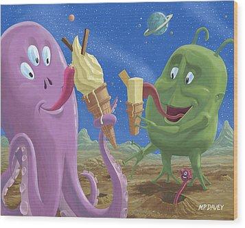 Alien Ice Cream Wood Print by Martin Davey