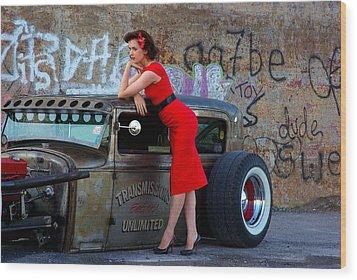 Alisha With Radillac And Graffiti Wood Print by Paul Wash