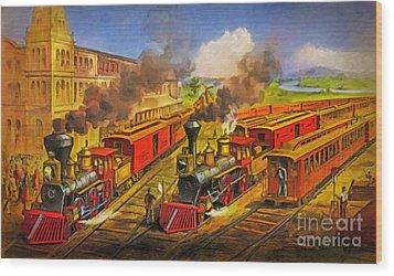 All Aboard The Lightning Express 1874 Wood Print by Lianne Schneider