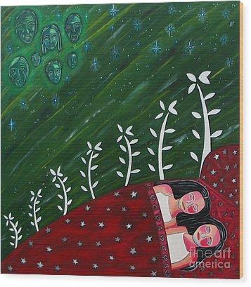 All Sown Up Wood Print by Sandra Marie Adams