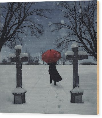 Alone In The Snow Wood Print by Joana Kruse