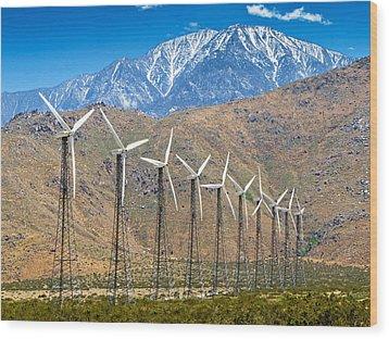 Alternative Power Wind Turbines Wood Print by Susan Schmitz