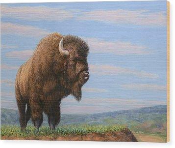 American Bison Wood Print by James W Johnson