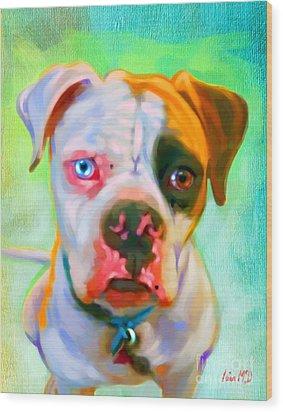 American Bulldog Art Wood Print by Iain McDonald