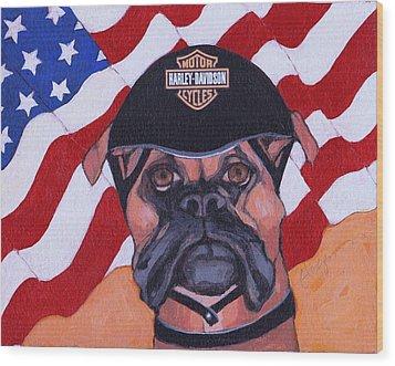 American Dawg Wood Print by Christina Hoffman
