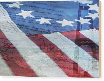 American Flag Wood Print by Christina Rollo