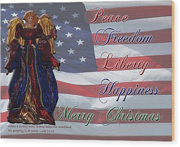 Americana Military Christmas 1 Wood Print by Robyn Stacey