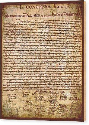 America's Declaration Of Independence  Wood Print by Li   van Saathoff