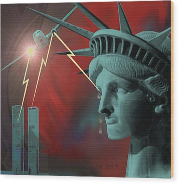 Americas Deepest  Wound  - 100 Wood Print by Irmgard Schoendorf Welch