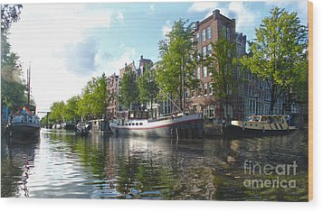 Amsterdam Canal View - 03 Wood Print by Gregory Dyer