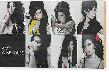 Amy Winehouse - ' Amy Eternal ' Wood Print by Christian Chapman Art