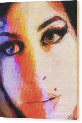 Amy Pop-art Wood Print by Lutz Baar