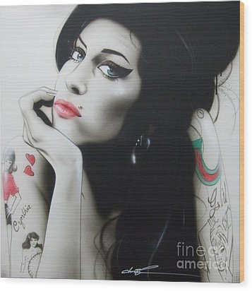 Amy Winehouse - ' Amy Your Music Will Echo Forever ' Wood Print by Christian Chapman Art