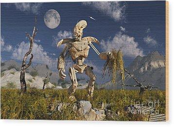 An Advanced Robot On An Exploration Wood Print by Stocktrek Images
